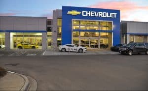 Exterior of Ed Bozarth Chevrolet at dusk in Line Tree. Designed by D2C Architects. Inc
