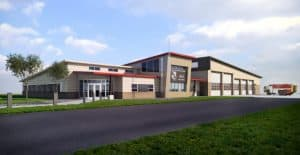 Exterior rendering of the Illinois Air National Guard Fire, Crash and Rescue Station