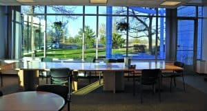 The conference room at the Metro Waste Water Administration Building with floor to ceiling windows designed by D2C Architects Inc.