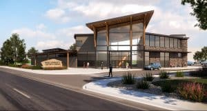 Rendering of the exterior of the Mead Community Center. Designed by D2C Architects Inc.