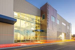 The entrance to Mike Shaw Subaru Service Center Designed by D2C Architects