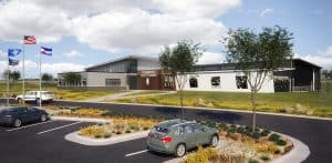 Exterior rendering of the Thornton Police Training Facility designed by D2C Architects Inc. and McClaren, Wilson and Lawrie (MWL).