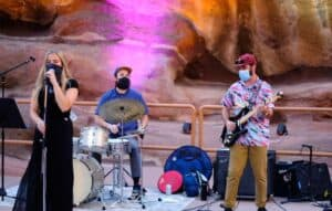 D2C Architect's Anthony Gaglia (right) playing a private show at Red Rocks Amphitheater for New Belgium's Dinner Party Event