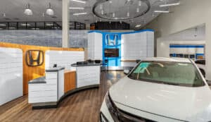 The showroom floor of the Mile High Honda Dealership designed by D2C Architects